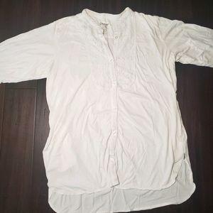 DKNY Long Sleeve Button Down Tunic Top sz XL